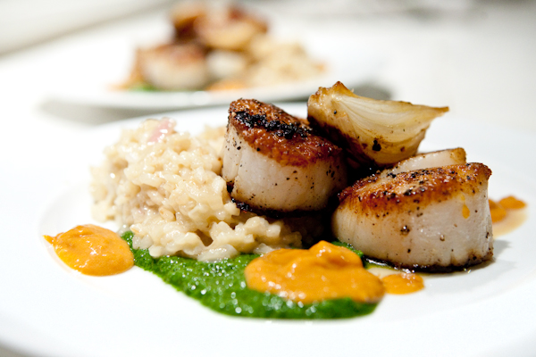 Scallops Roasted Spring Red Onions and Risotto