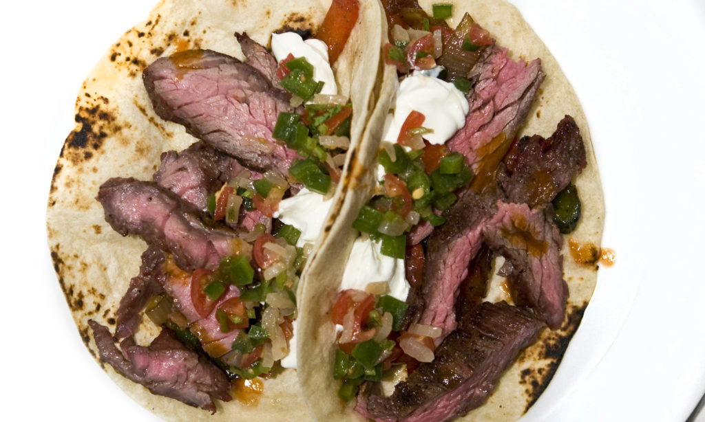 Steak Fajitas with Pico and Sour Cream